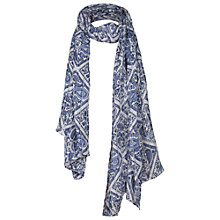 Buy Fat Face Diamond Paisley Print Scarf, Navy Online at johnlewis.com