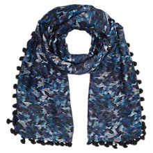 Buy Jigsaw Stamped Leaf Pom Pom Scarf, Blue Online at johnlewis.com