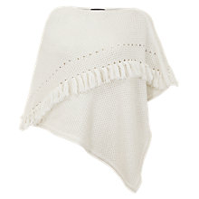Buy Mint Velvet Fringe Detail Poncho, Ivory Online at johnlewis.com