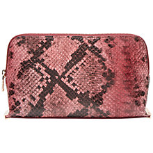 Buy Ted Baker Abril Leather Faux Snakeskin Makeup Bag, Red Online at johnlewis.com