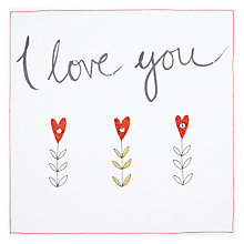 Buy Saffron Cards & Gifts Three Flowers I Love You Valentine's Day Card Online at johnlewis.com