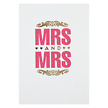 Buy Pigment Mrs And Mrs Wedding Card Online at johnlewis.com