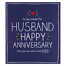 Buy Pigment Husband Happy Anniversary Card Online at johnlewis.com