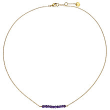 Buy John Lewis Gemstones 18ct Gold Plated Amethyst Bar Necklace, Gold/Purple Online at johnlewis.com