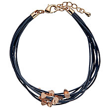 Buy John Lewis Mini Hearts Cord Bracelet, Navy/Rose Gold Online at johnlewis.com