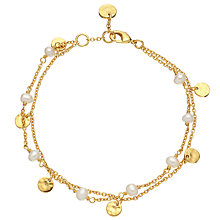 Buy John Lewis Gemstones 18ct Gold Plated Hammered Discs and Pearl Double Chain Bracelet, Gold Online at johnlewis.com