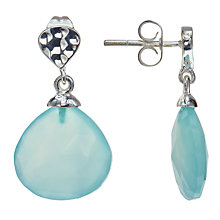 Buy John Lewis Gemstones Silver Plated Aqua Chalcedony Drop Stud Earrings, Silver/Blue Online at johnlewis.com
