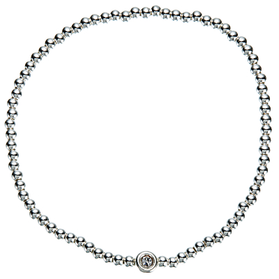 John Lewis Mini Bead and Diamante Stretch Bracelet, Silver