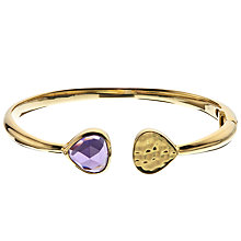 Buy John Lewis 18ct Gold Plated Amethyst Hinged Bangle, Gold/Purple Online at johnlewis.com