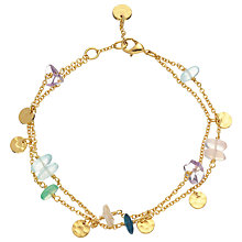 Buy John Lewis 18ct Gold Plated Gemstones and Hammered Discs Chain Bracelet, Multi Online at johnlewis.com