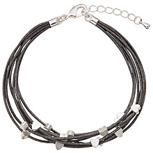 Buy John Lewis Mini Hearts Cord Bracelet, Dark Grey/Silver Online at johnlewis.com