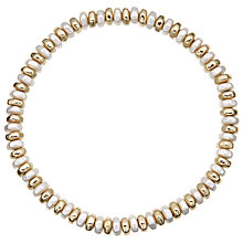 Buy John Lewis Faux Pearl Stretch Bead Bracelet, Gold/White Online at johnlewis.com