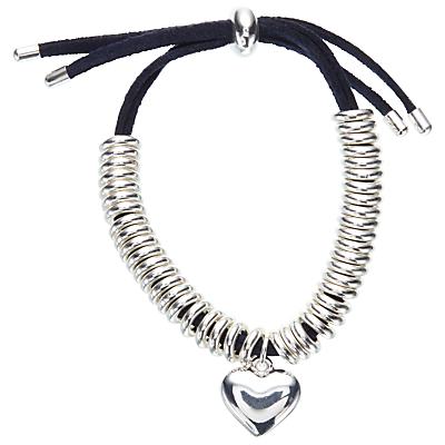 John Lewis Heart Charm Bracelet, Navy/Silver