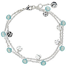 Buy John Lewis Silver Plated Aqua Chalcedony and Hammered Disc Double Chain Bracelet, Silver/Blue Online at johnlewis.com