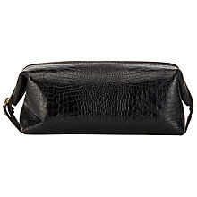 Buy John Lewis Made In Italy Mock Crocodile Leather Wash Bag, Dark Brown Online at johnlewis.com