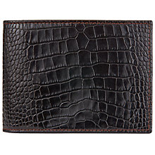 Buy John Lewis Made in Italy Mock Croc Leather Bifold Wallet, Dark Brown Online at johnlewis.com