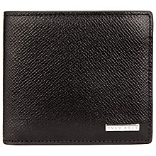 Buy BOSS Signature 8 Card Textured Leather Wallet, Black Online at johnlewis.com