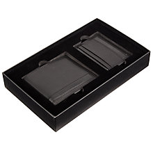 Buy BOSS Leather Wallet and Card Holder Set, Black Online at johnlewis.com