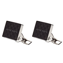 Buy BOSS Miki Rectangular Logo Cufflinks, Dark Grey Online at johnlewis.com