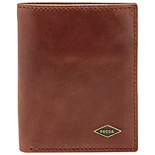 Buy Fossil Ryan Leather Card Case Bifold Wallet, Dark Brown Online at johnlewis.com