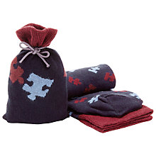 Buy John Lewis Puzzle Piece Socks in a Bag, One Size, Navy Online at johnlewis.com
