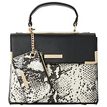 Buy Dune Dinidha Small Structured Tote, Black/White Online at johnlewis.com