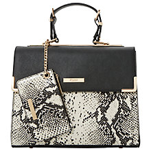 Buy Dune Dhan Reptile Colourblock Bag, Black/White Online at johnlewis.com