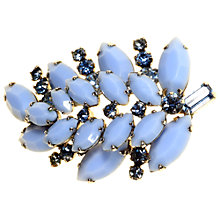Buy Alice Joseph Vintage Sherman Silver Toned Glass and Diamante Leaf Brooch, Blue Online at johnlewis.com