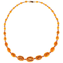 Buy Alice Joseph Vintage 1920s Gold Plated Satin Glass Bead Necklace, Amber Yellow/Lavender Online at johnlewis.com