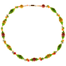 Buy Alice Joseph Vintage 1930s Gold Toned Moulded Glass Flower Bead Necklace, Green/Pink Online at johnlewis.com