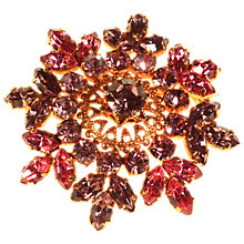 Buy Alice Joseph Vintage 1950s Gold Toned Diamante Flower Brooch, Cerise/Plum Online at johnlewis.com