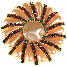 Buy Alice Joseph Vintage 1960s Gold Toned Pearlised Bead and Glass Crystal Flower Brooch, Multi Online at johnlewis.com