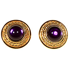 Buy Alice Joseph Vintage Trifari Gold Plated Glass Stone Stud Earrings, Gold/Purple Online at johnlewis.com