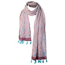 Buy Fat Face Butterfly Stripe Scarf, Purple Online at johnlewis.com