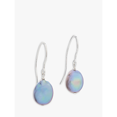 Claudia Bradby Bedruthan Freshwater Coin Pearl Drop Earrings, Grey