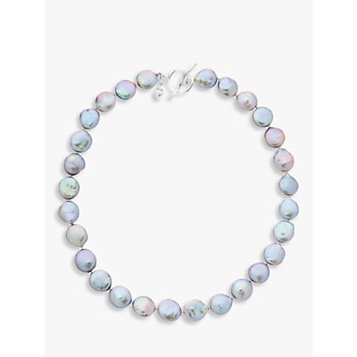 Claudia Bradby Bedruthan Freshwater Coin Pearl Necklace, Grey