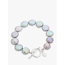 Buy Claudia Bradby Bedruthan Freshwater Coin Pearl Bracelet, Grey Online at johnlewis.com