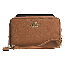 Buy Coach Double Zip Leather Phone Wallet, Saddle Online at johnlewis.com