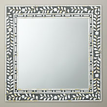 Buy John Lewis Mother of Pearl Square Wall Mirror, Dark Grey, Dia.60cm Online at johnlewis.com