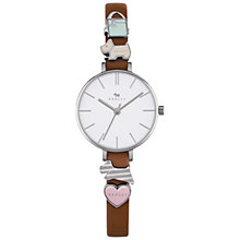 Buy Radley RY2379 Women's Time After Time Removable Charm Leather Strap Watch, Tan/White Online at johnlewis.com
