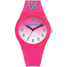 Buy Superdry SYL198PN Women's Urban Laser Silicone Strap Watch, Hot Pink Online at johnlewis.com