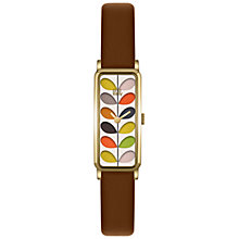 Buy Orla Kiely OK2104 Women's Rectangular Stem Leather Strap Watch, Tan/Multi Online at johnlewis.com