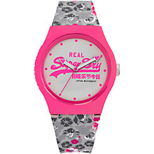 Buy Superdry SYL169EP Women's Urban Floral Silicone Strap Watch, Grey/White Online at johnlewis.com