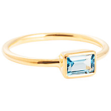 Buy Auren 18ct Gold Vermeil Large Baguette Topaz Ring, Gold/Blue Online at johnlewis.com
