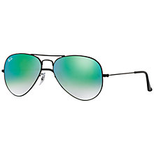 Buy Ray-Ban RB3025 Original Aviator Sunglasses, Black/Mirror Green Online at johnlewis.com