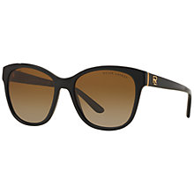 Buy Ralph Lauren RL8143 Polarised Square Sunglasses, Black Online at johnlewis.com