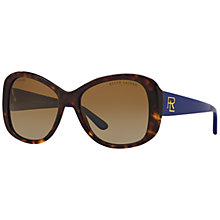 Buy Ralph Lauren RL8144 Polarised Cat's Eye Sunglasses, Tortoise/Indigo Online at johnlewis.com