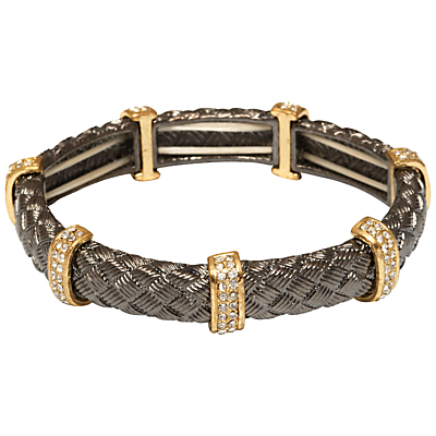 Adele Marie Textured Tube and Crystal Bar Stretch Bracelet