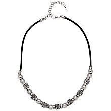 Buy Adele Marie Bead and Crystal Cord Necklace, Silver/Black Online at johnlewis.com