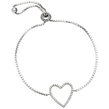 Buy Adele Marie Sterling Silver Cubic Zirconia Open Heart Bracelet, Silver Online at johnlewis.com